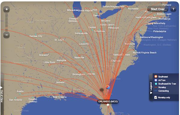 Southwest Flight Map