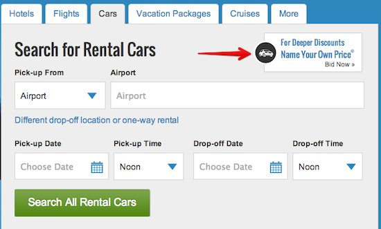 On the Priceline.com homepage select the cars tab. You'll see the ...