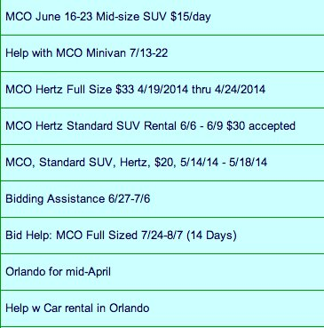 Best Rental Car Bids In Orlando